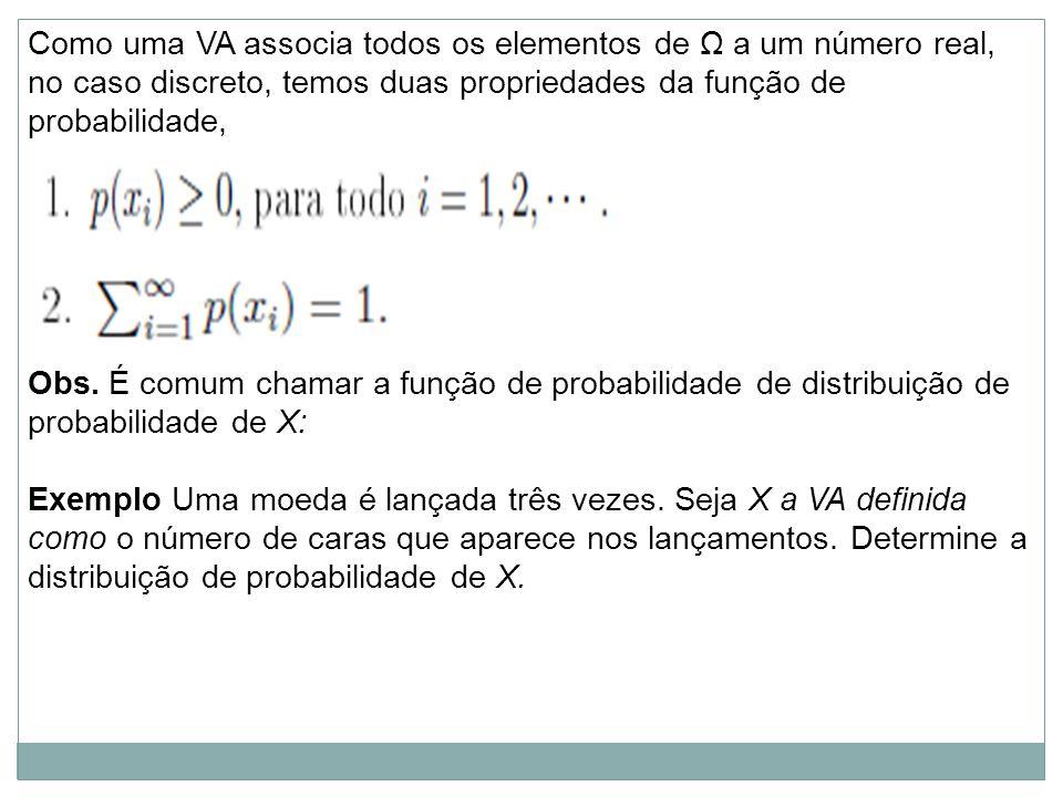 Como uma VA associa todos os elementos de Ω a um número real, no caso discreto, temos duas propriedades da função de probabilidade,