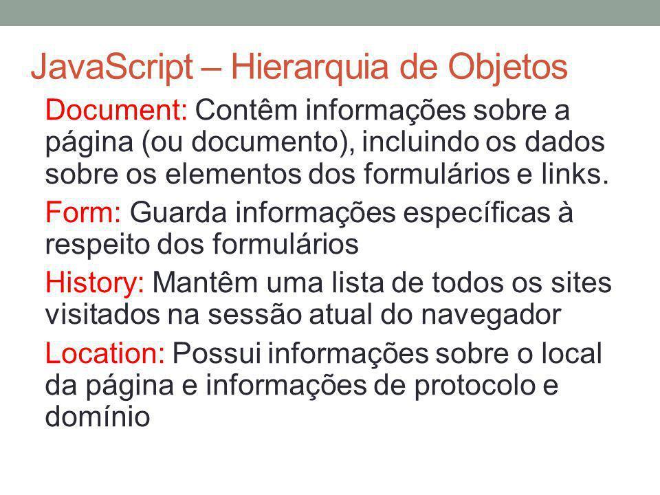 JavaScript – Hierarquia de Objetos