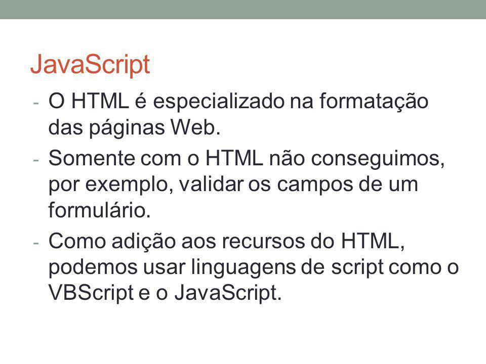 JavaScript O HTML é especializado na formatação das páginas Web.