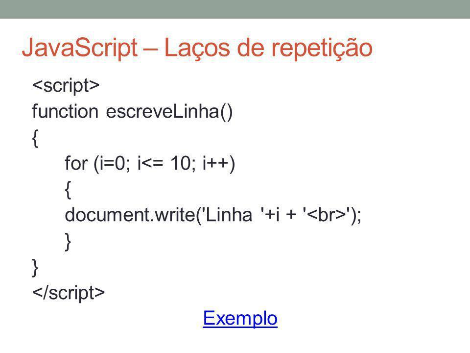 JavaScript – Laços de repetição
