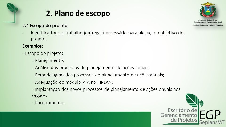 2. Plano de escopo 2.4 Escopo do projeto