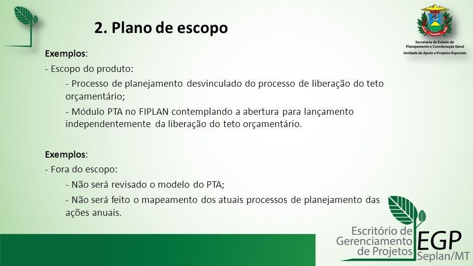 2. Plano de escopo Exemplos: Escopo do produto: