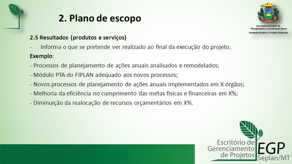 2. Plano de escopo 2.5 Resultados (produtos e serviços)