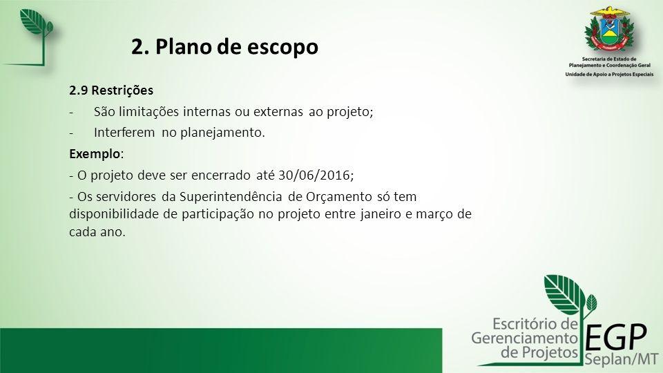 2. Plano de escopo 2.9 Restrições
