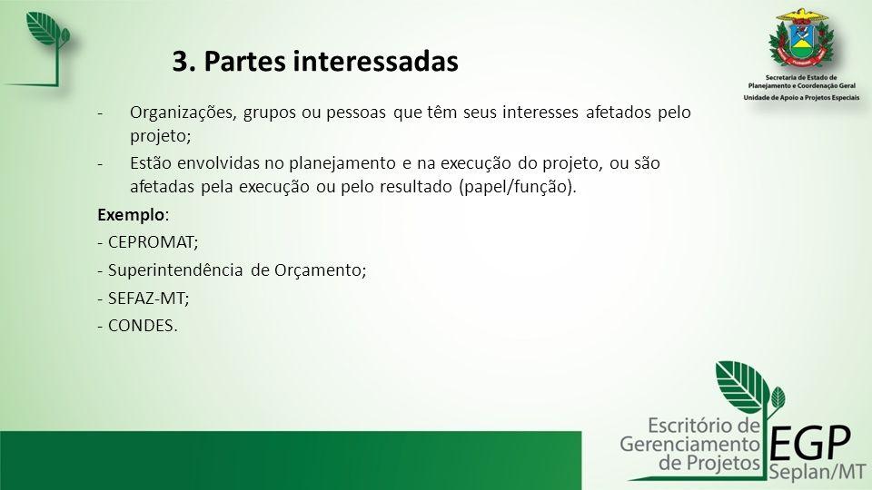 3. Partes interessadas Organizações, grupos ou pessoas que têm seus interesses afetados pelo projeto;