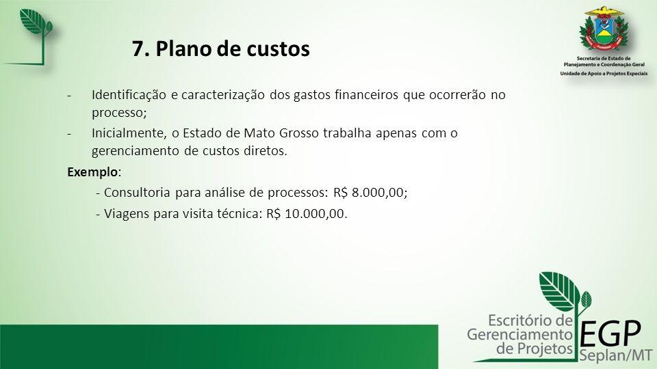 7. Plano de custos Identificação e caracterização dos gastos financeiros que ocorrerão no processo;