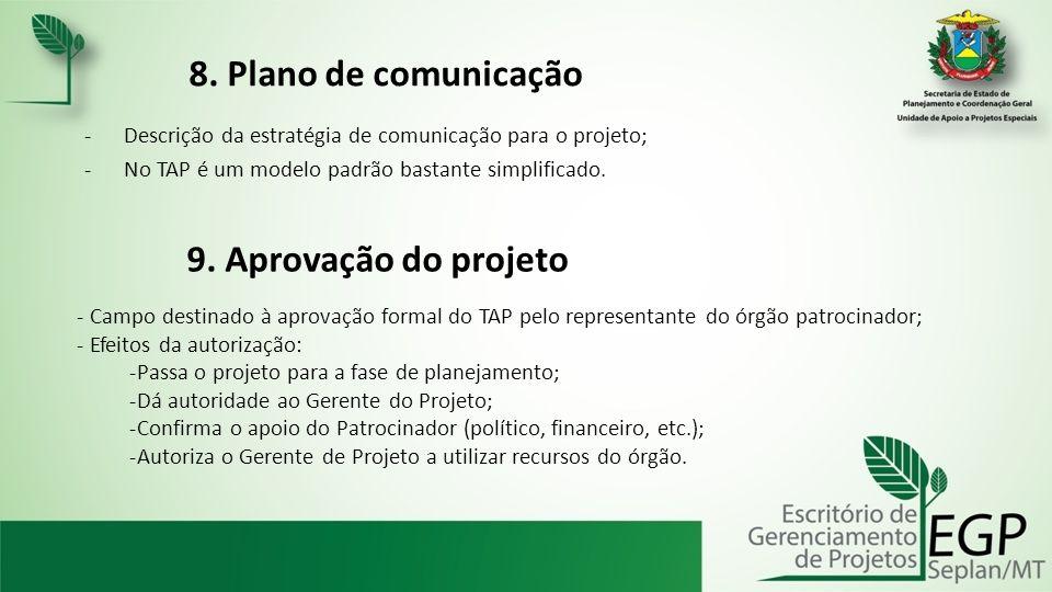 8. Plano de comunicação 9. Aprovação do projeto