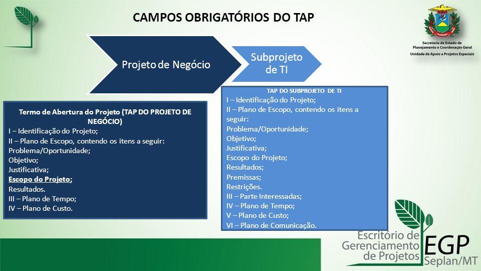 CAMPOS OBRIGATÓRIOS DO TAP