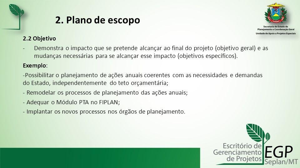 2. Plano de escopo 2.2 Objetivo