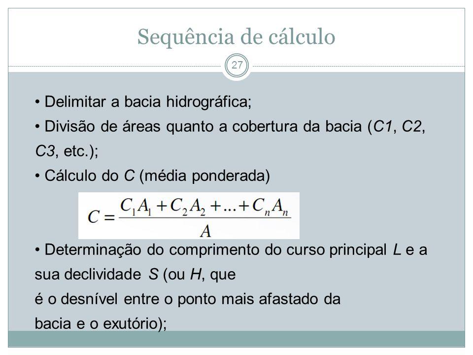 Sequência de cálculo • Delimitar a bacia hidrográfica;