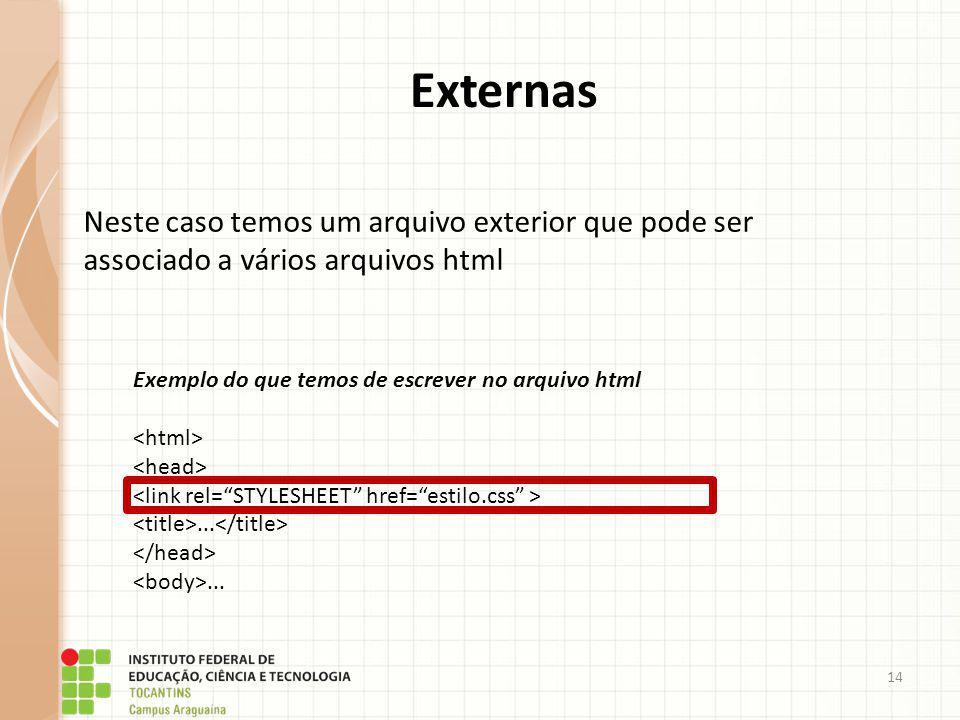 Externas Neste caso temos um arquivo exterior que pode ser associado a vários arquivos html. Exemplo do que temos de escrever no arquivo html.