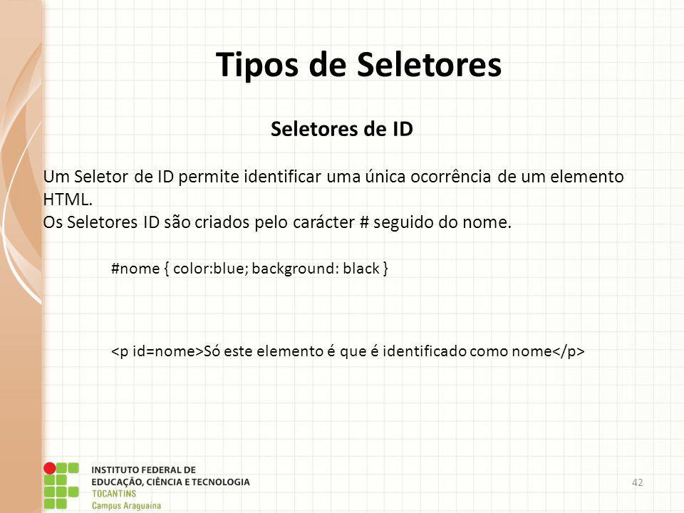 Tipos de Seletores Seletores de ID