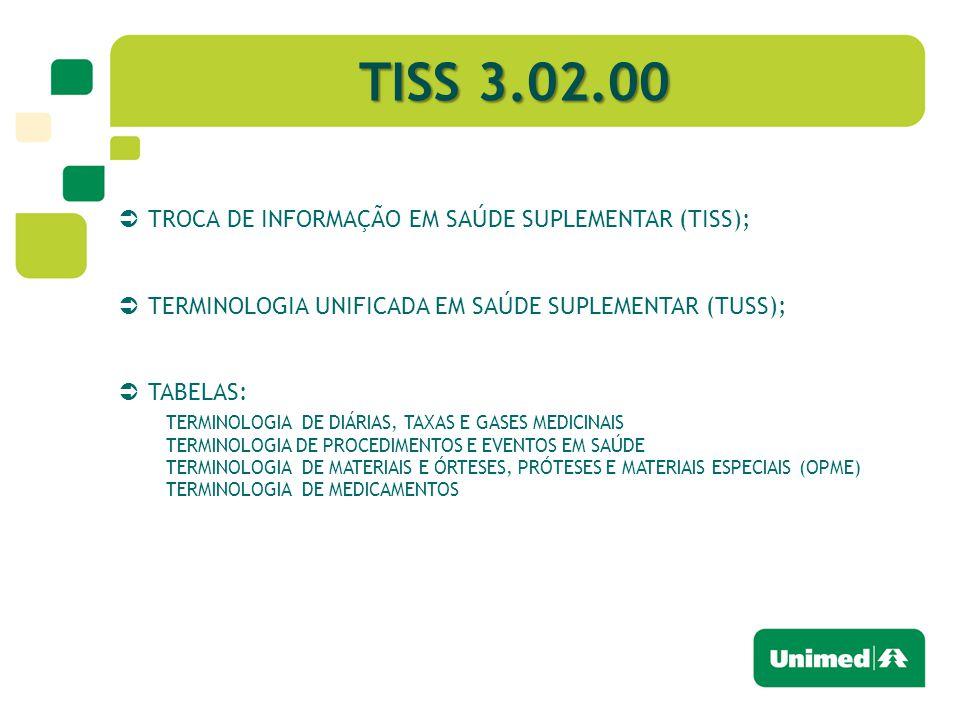 TISS 3.02.00 TROCA DE INFORMAÇÃO EM SAÚDE SUPLEMENTAR (TISS);