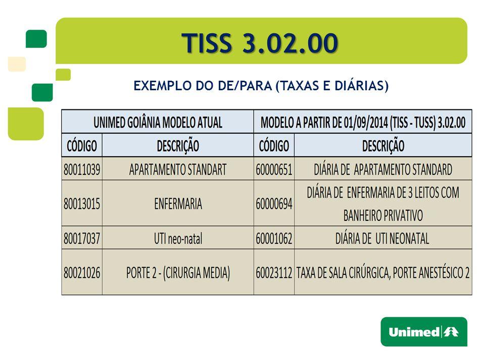 TISS 3.02.00 EXEMPLO DO DE/PARA (TAXAS E DIÁRIAS)