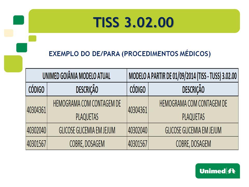 TISS 3.02.00 EXEMPLO DO DE/PARA (PROCEDIMENTOS MÉDICOS)
