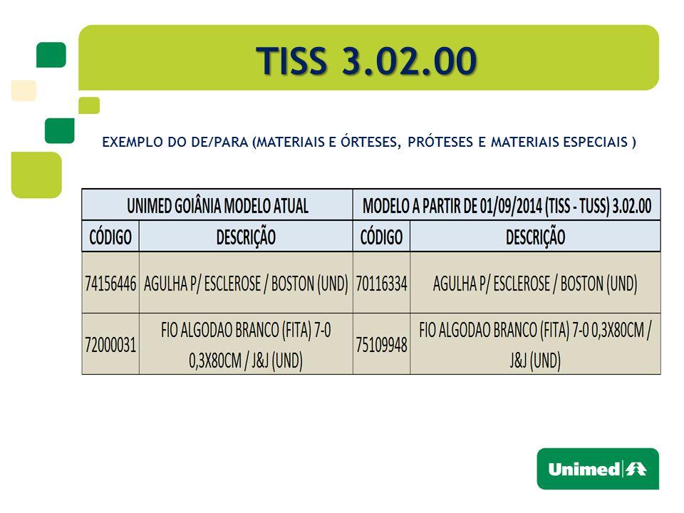 TISS 3.02.00 EXEMPLO DO DE/PARA (MATERIAIS E ÓRTESES, PRÓTESES E MATERIAIS ESPECIAIS )