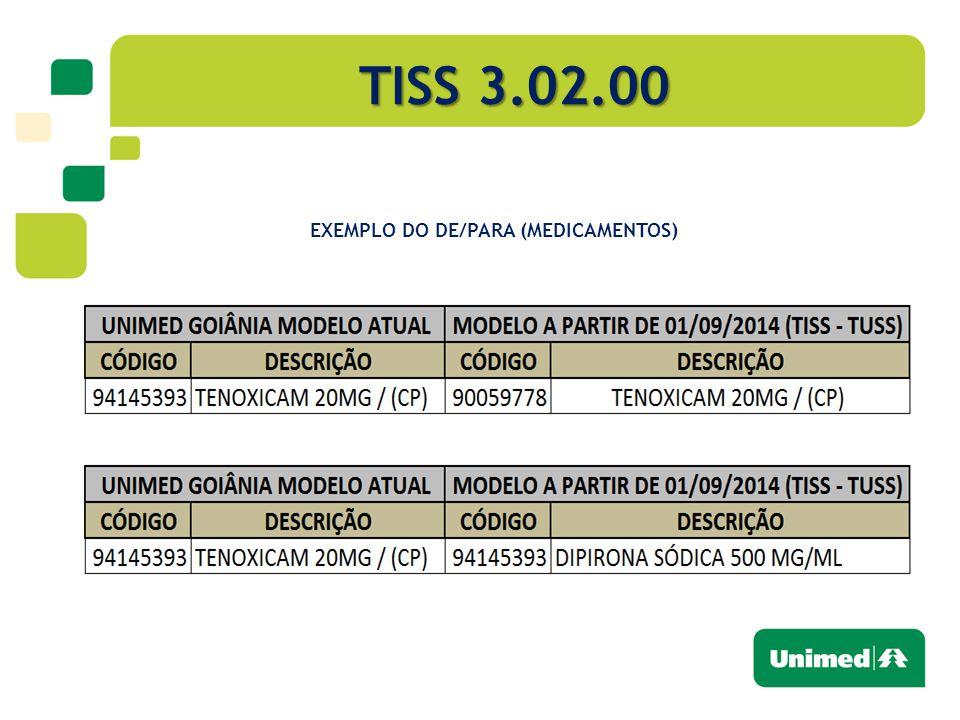 TISS 3.02.00 EXEMPLO DO DE/PARA (MEDICAMENTOS)