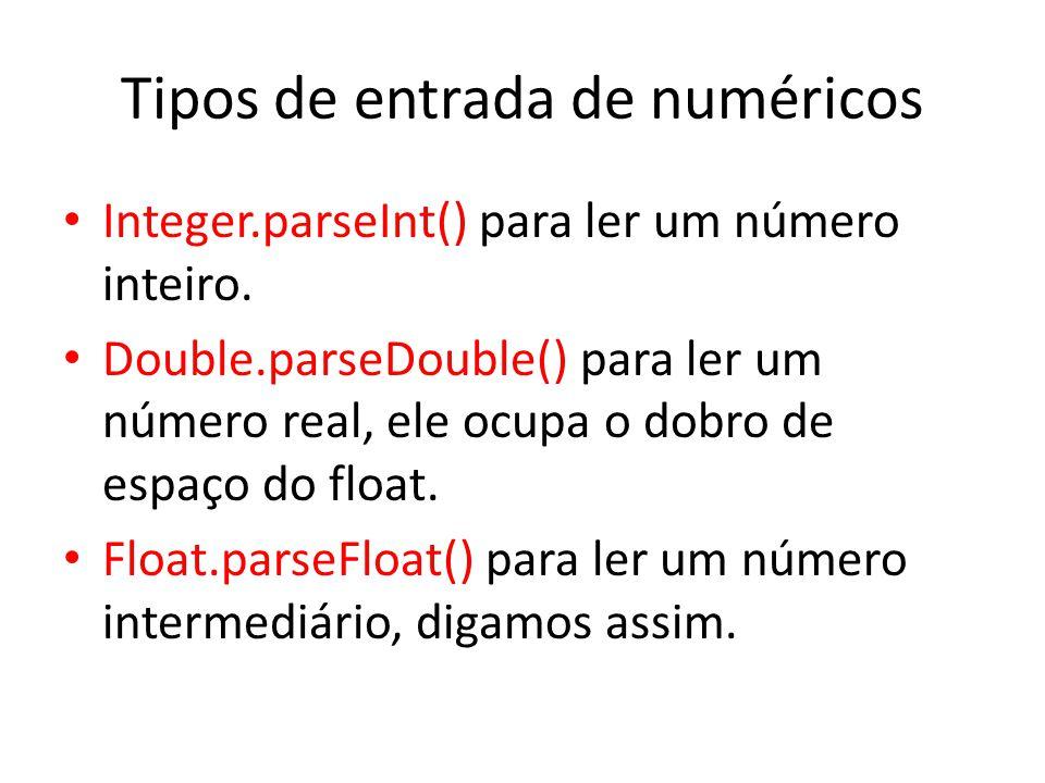 Tipos de entrada de numéricos