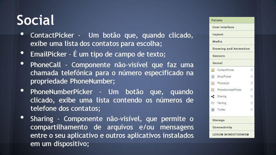 Social ContactPicker - Um botão que, quando clicado, exibe uma lista dos contatos para escolha; EmailPicker - É um tipo de campo de texto;