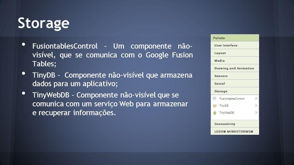 Storage FusiontablesControl - Um componente não- visível, que se comunica com o Google Fusion Tables;