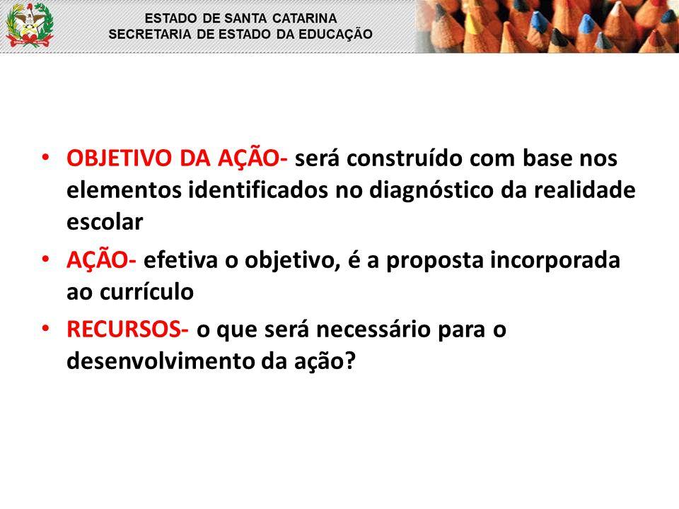 AÇÃO- efetiva o objetivo, é a proposta incorporada ao currículo