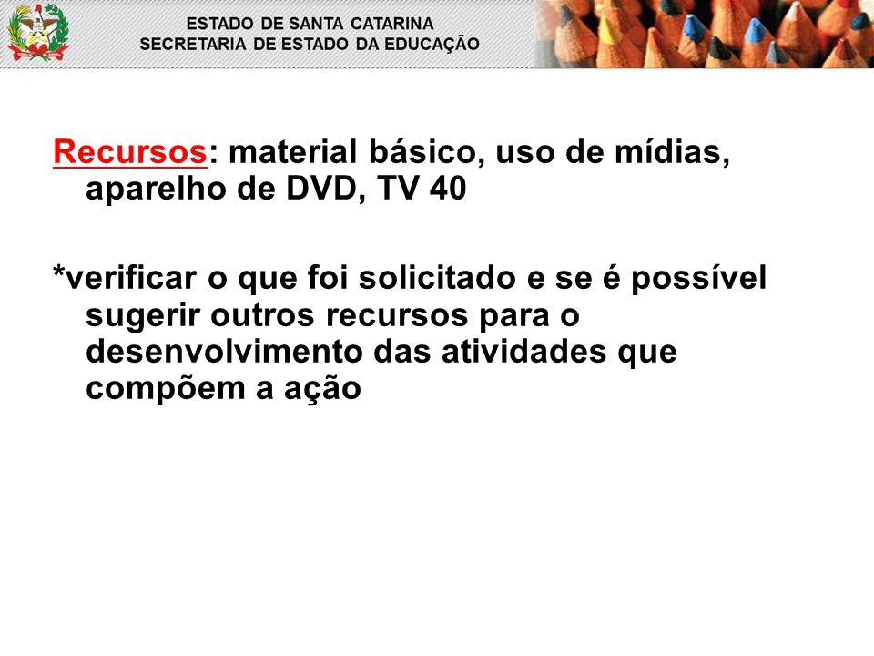Recursos: material básico, uso de mídias, aparelho de DVD, TV 40
