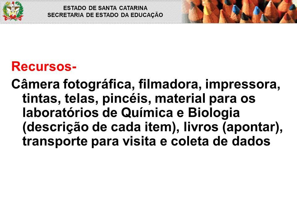 Recursos- Câmera fotográfica, filmadora, impressora, tintas, telas, pincéis, material para os laboratórios de Química e Biologia (descrição de cada item), livros (apontar), transporte para visita e coleta de dados