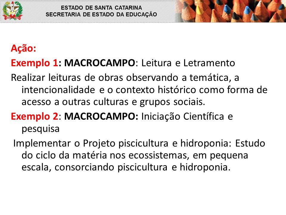Ação: Exemplo 1: MACROCAMPO: Leitura e Letramento Realizar leituras de obras observando a temática, a intencionalidade e o contexto histórico como forma de acesso a outras culturas e grupos sociais. Exemplo 2: MACROCAMPO: Iniciação Científica e pesquisa Implementar o Projeto piscicultura e hidroponia: Estudo do ciclo da matéria nos ecossistemas, em pequena escala, consorciando piscicultura e hidroponia.
