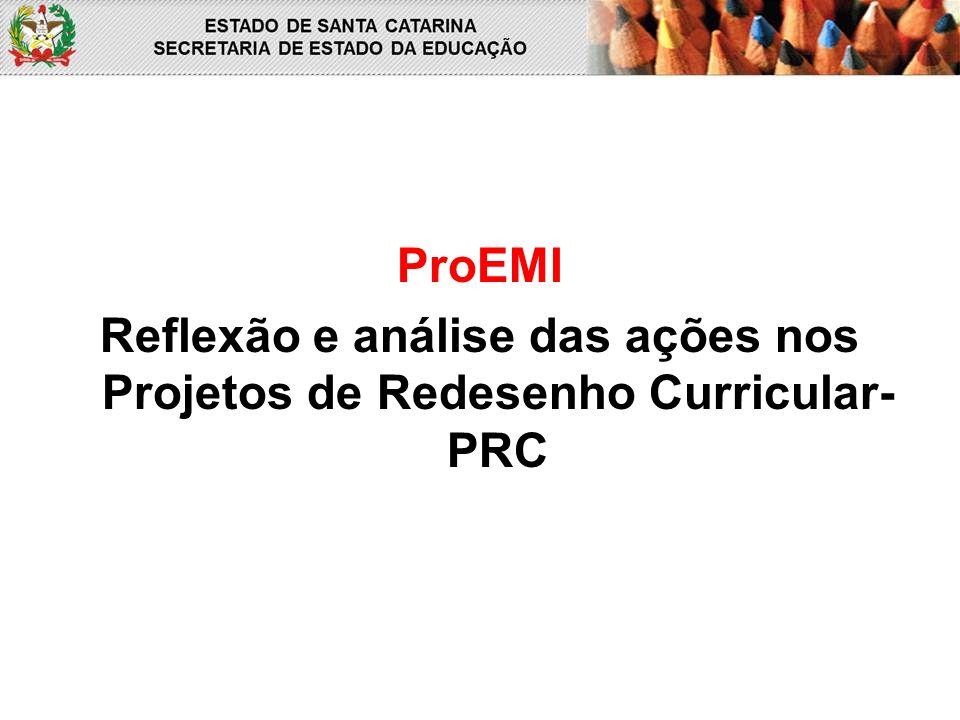 Reflexão e análise das ações nos Projetos de Redesenho Curricular- PRC