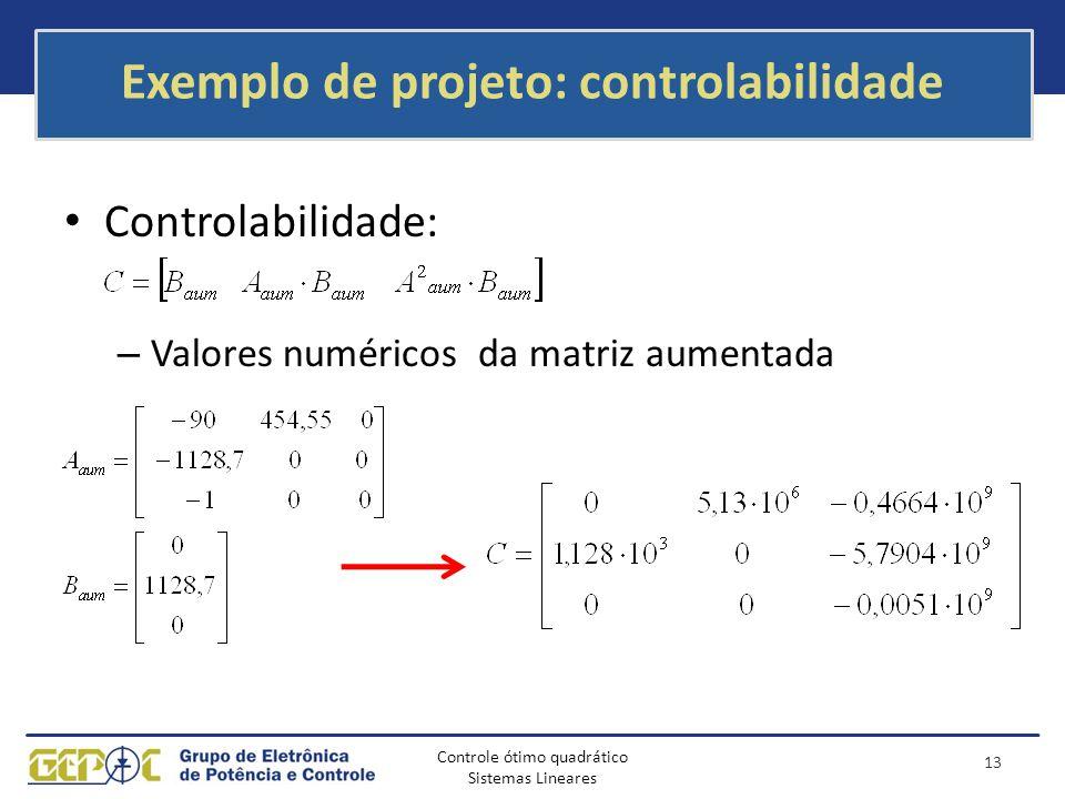 Exemplo de projeto: controlabilidade