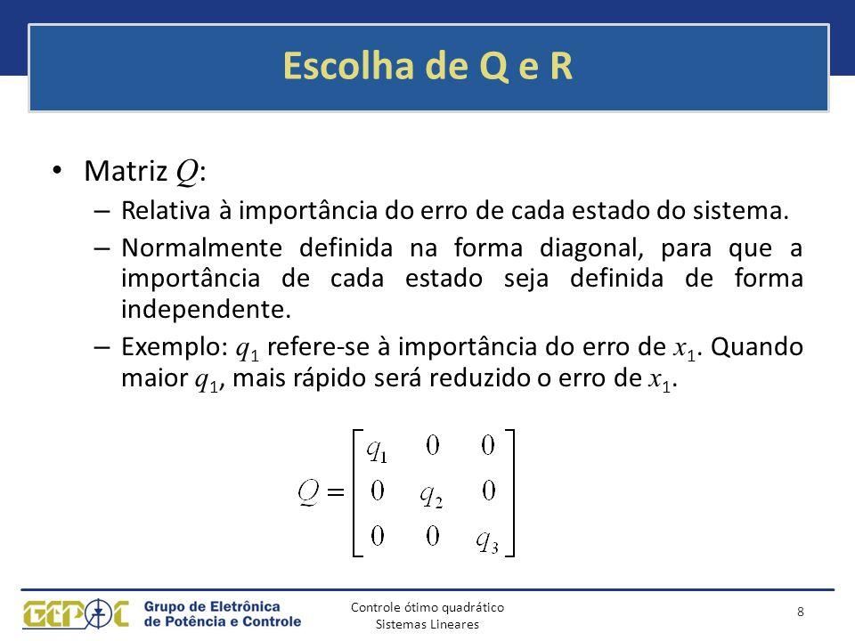 Escolha de Q e R Matriz Q: