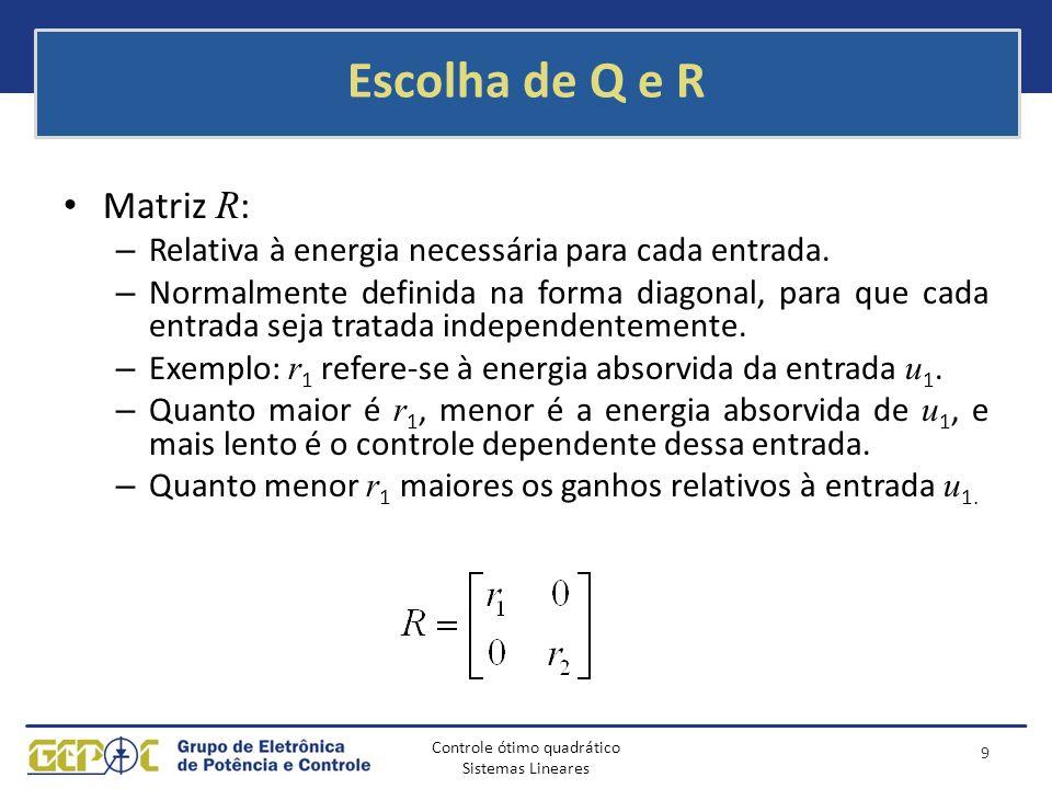 Escolha de Q e R Matriz R: