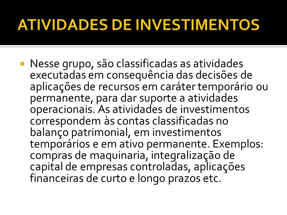 ATIVIDADES DE INVESTIMENTOS