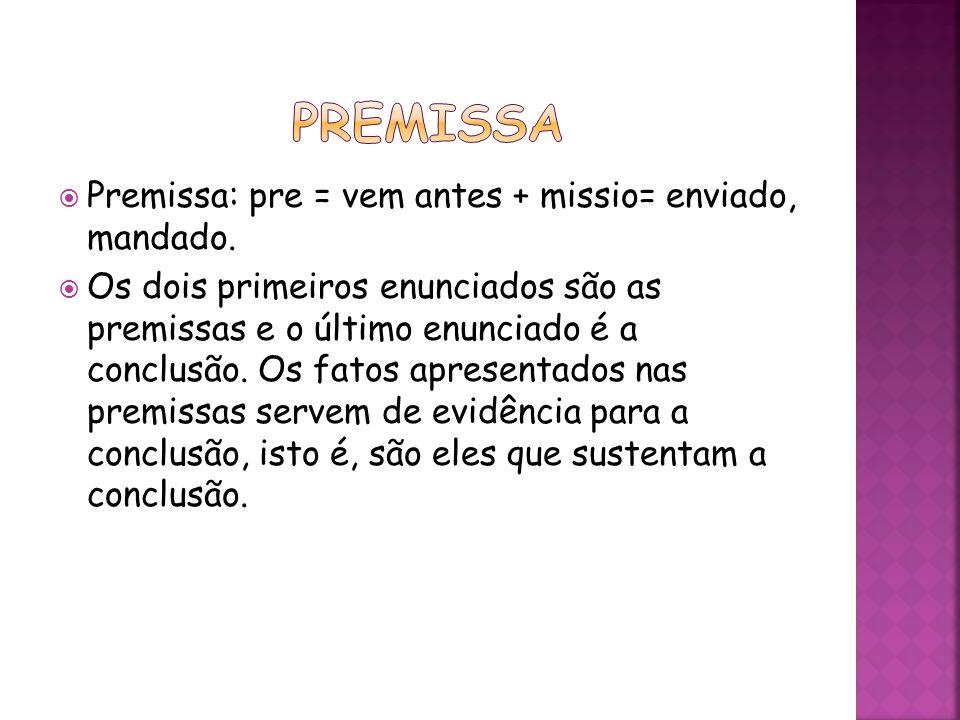 premissa Premissa: pre = vem antes + missio= enviado, mandado.