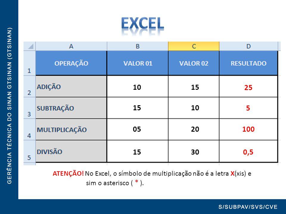 EXCEL 10 15 = B2 + C2. 25. 15 10 = B2 - C2.