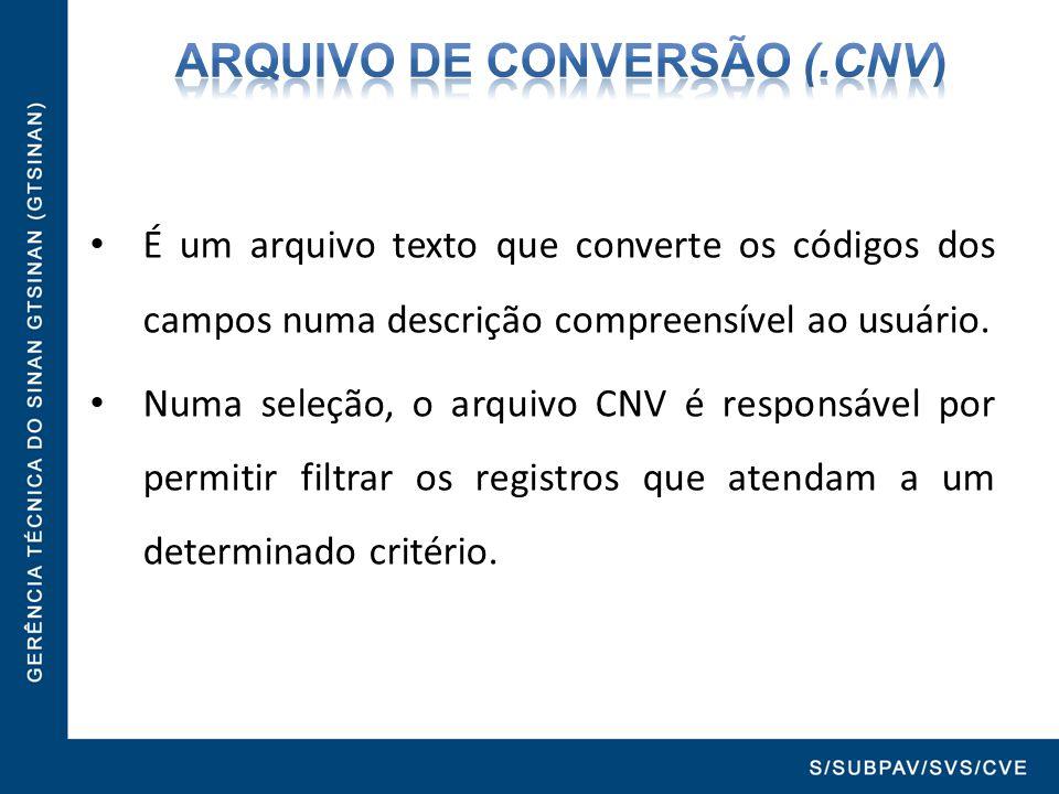 ARQUIVO DE CONVERSÃO (.cnv)