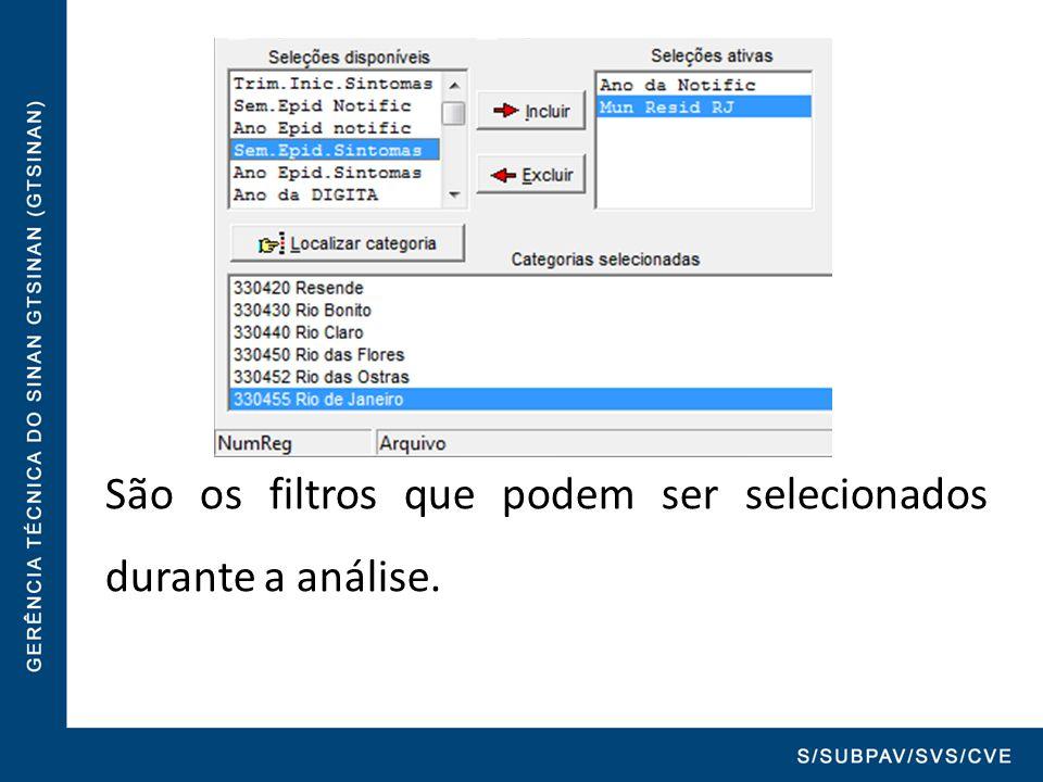 São os filtros que podem ser selecionados durante a análise.