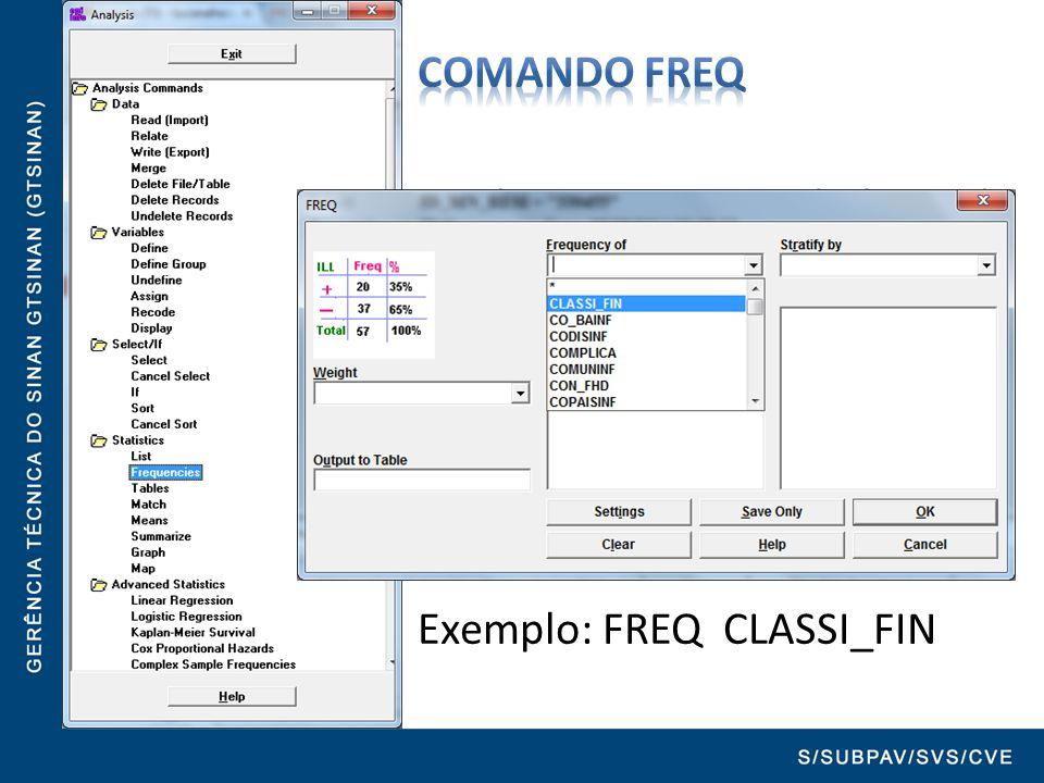 Comando FREQ Produz uma tabela de frequência que mostra os valores, os percentuais e o percentual acumulado da variável selecionada.