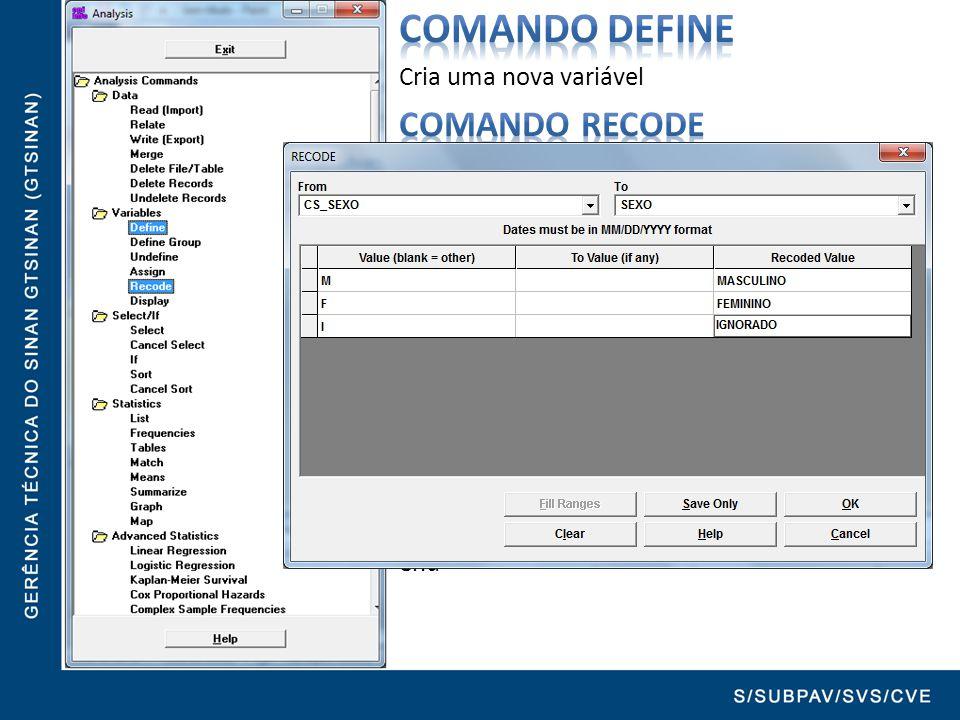Comando DEFINE Cria uma nova variável. Comando RECODE Recodifica uma variável já existente na nova variável criada com o comando DEFINE.