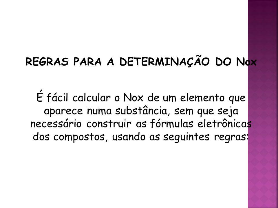 REGRAS PARA A DETERMINAÇÃO DO Nox