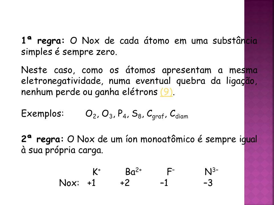 1ª regra: O Nox de cada átomo em uma substância simples é sempre zero.