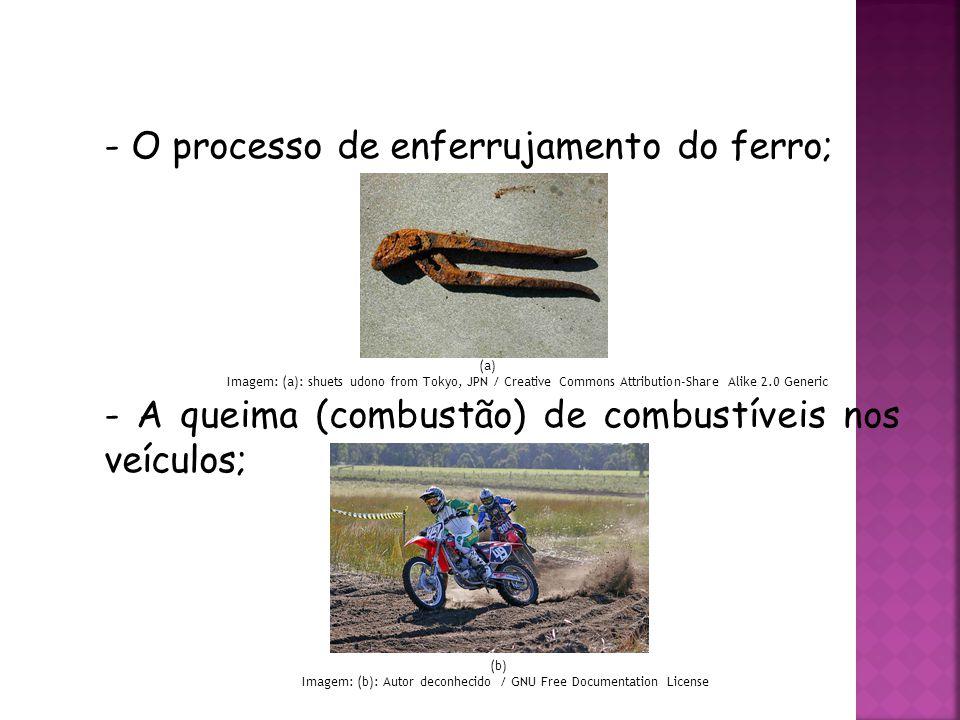O processo de enferrujamento do ferro;
