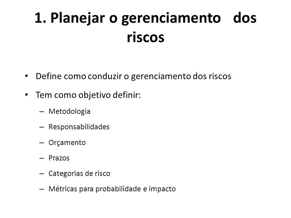 1. Planejar o gerenciamento dos riscos