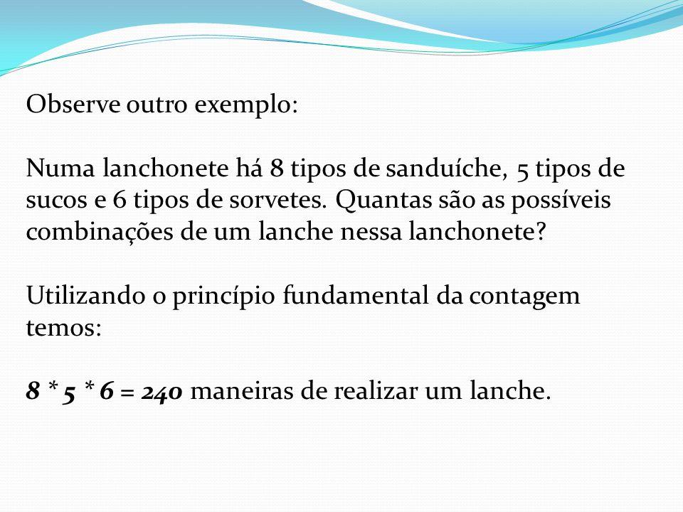 Observe outro exemplo: Numa lanchonete há 8 tipos de sanduíche, 5 tipos de sucos e 6 tipos de sorvetes.