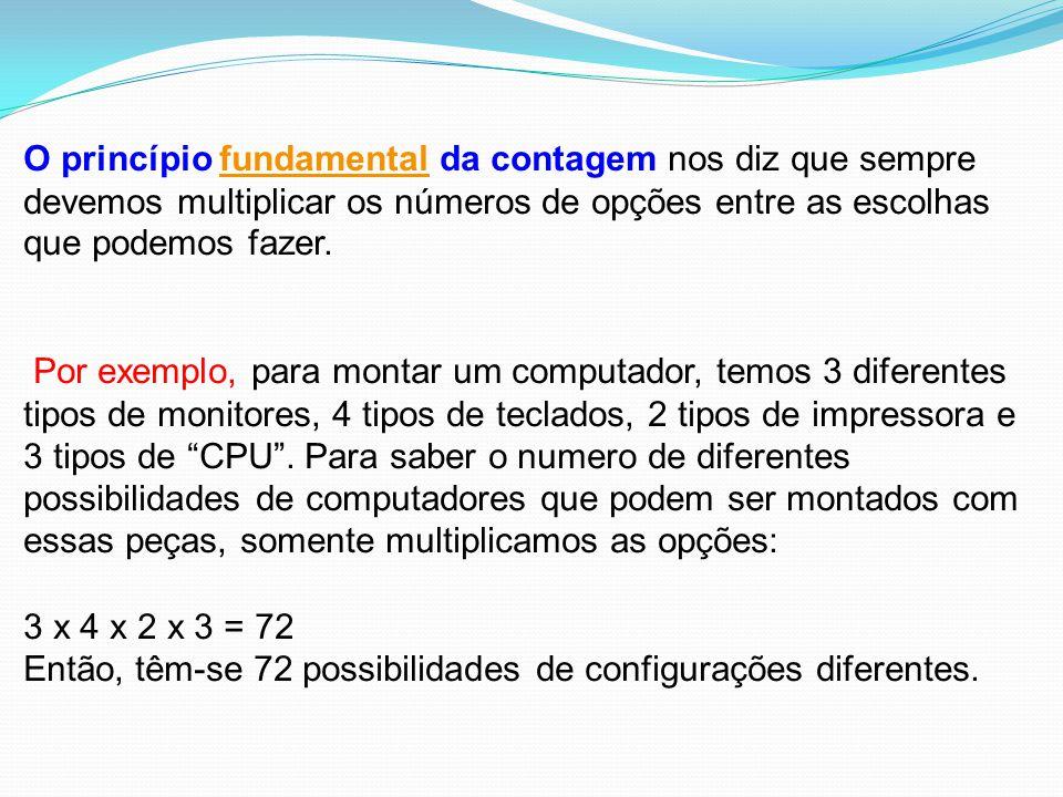 Então, têm-se 72 possibilidades de configurações diferentes.