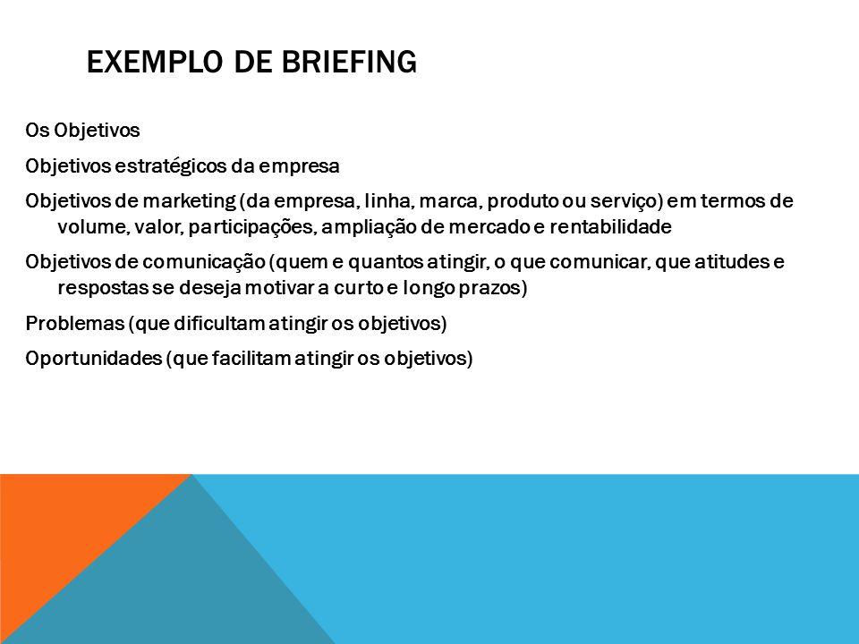 EXEMPLO DE BRIEFING Os Objetivos Objetivos estratégicos da empresa