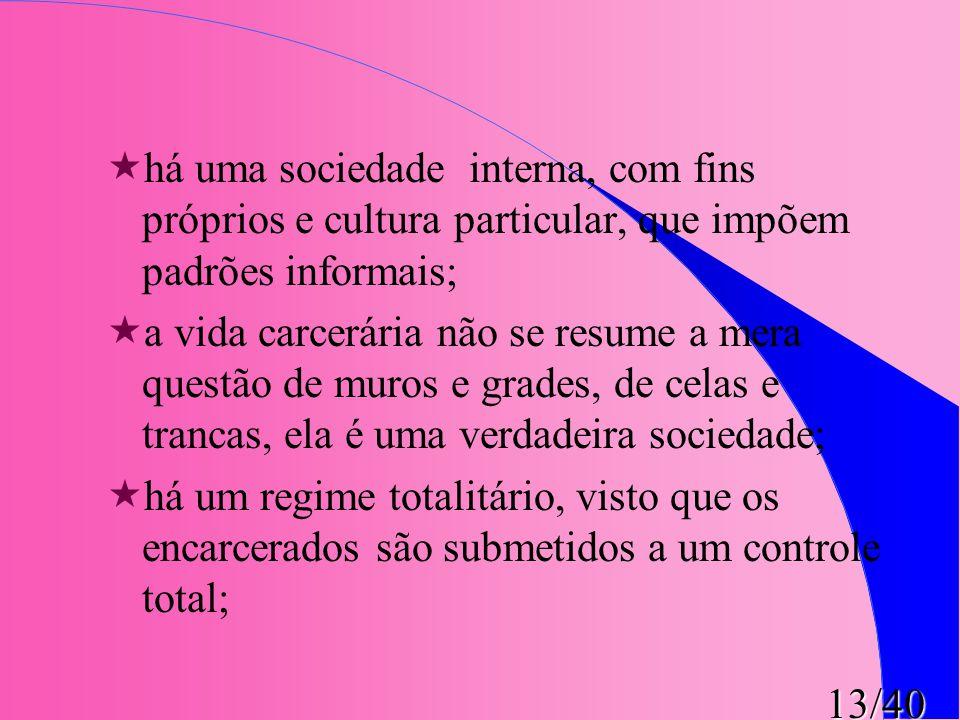 há uma sociedade interna, com fins próprios e cultura particular, que impõem padrões informais;