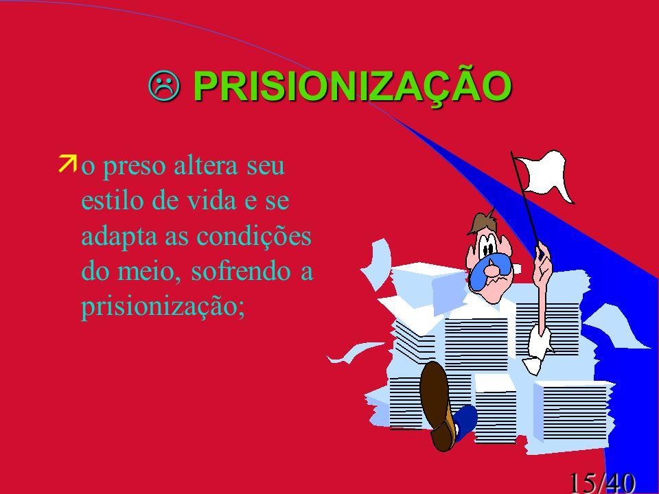 PRISIONIZAÇÃO o preso altera seu estilo de vida e se adapta as condições do meio, sofrendo a prisionização;