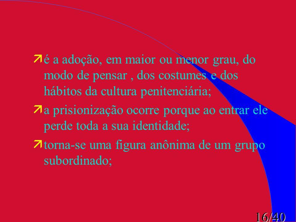 é a adoção, em maior ou menor grau, do modo de pensar , dos costumes e dos hábitos da cultura penitenciária;