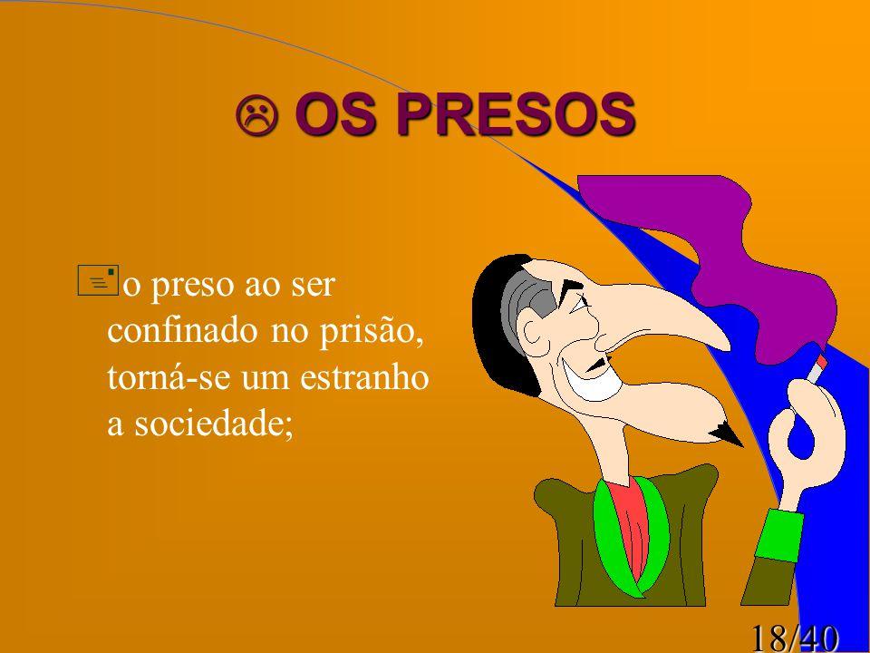 OS PRESOS o preso ao ser confinado no prisão, torná-se um estranho a sociedade;